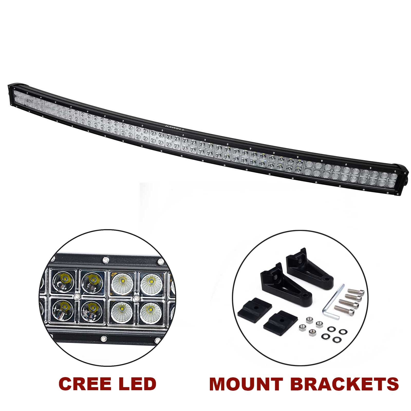 kawell u00ae 52 u0026quot  300w cree curved spot and flood combo beam led light bar off road led worklamp for
