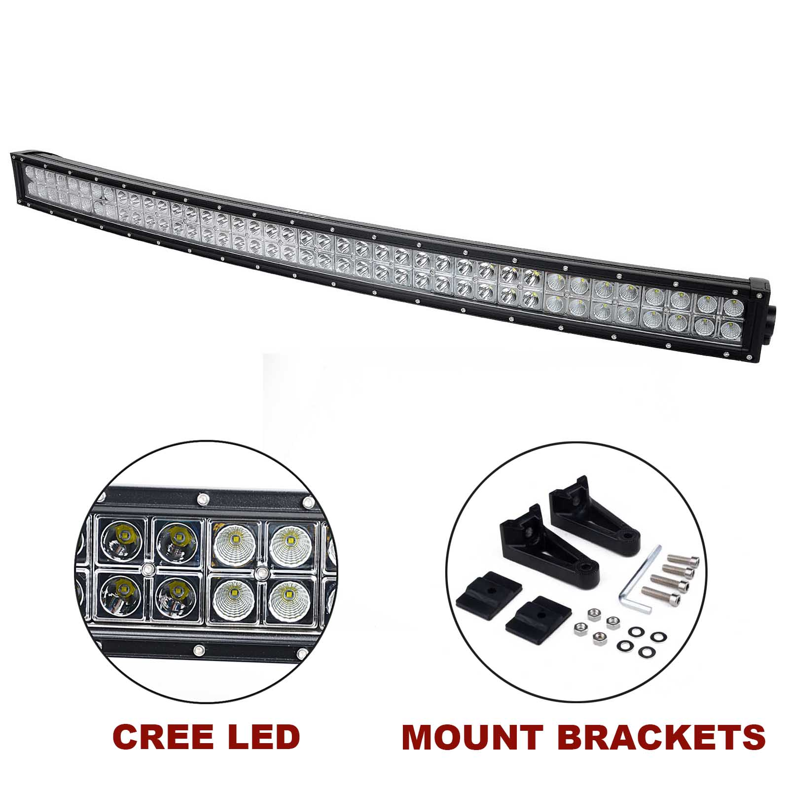 kawell u00ae 42 u0026quot  240w cree curved spot and flood combo beam led