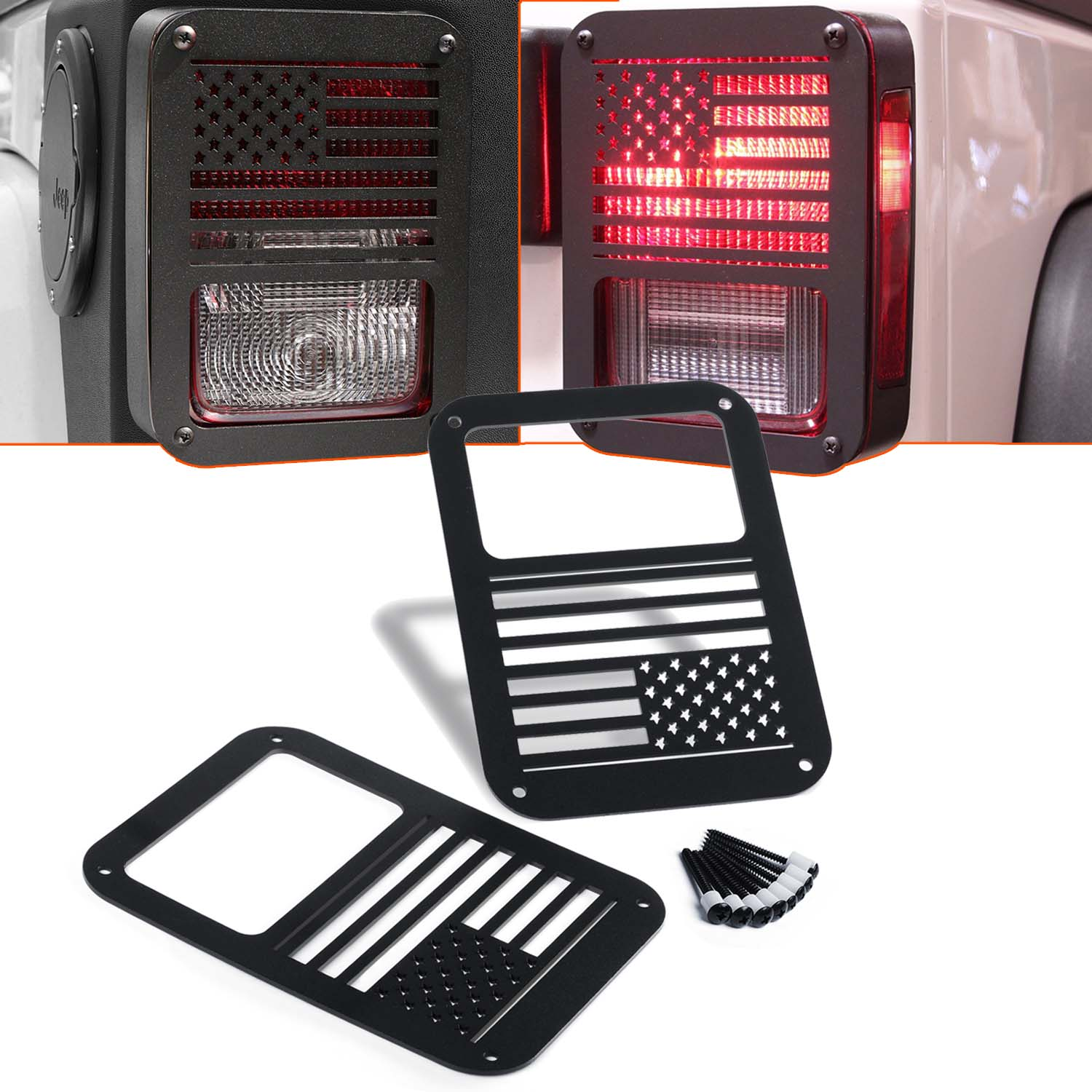 KAWELL 2 Pcs Rear Tail Lamp Tail Light Cover Trim Guards Protector For Jeep  Wrangler Sport X Sahara Unlimited Rubicon 2007 2016 (USA Flag)