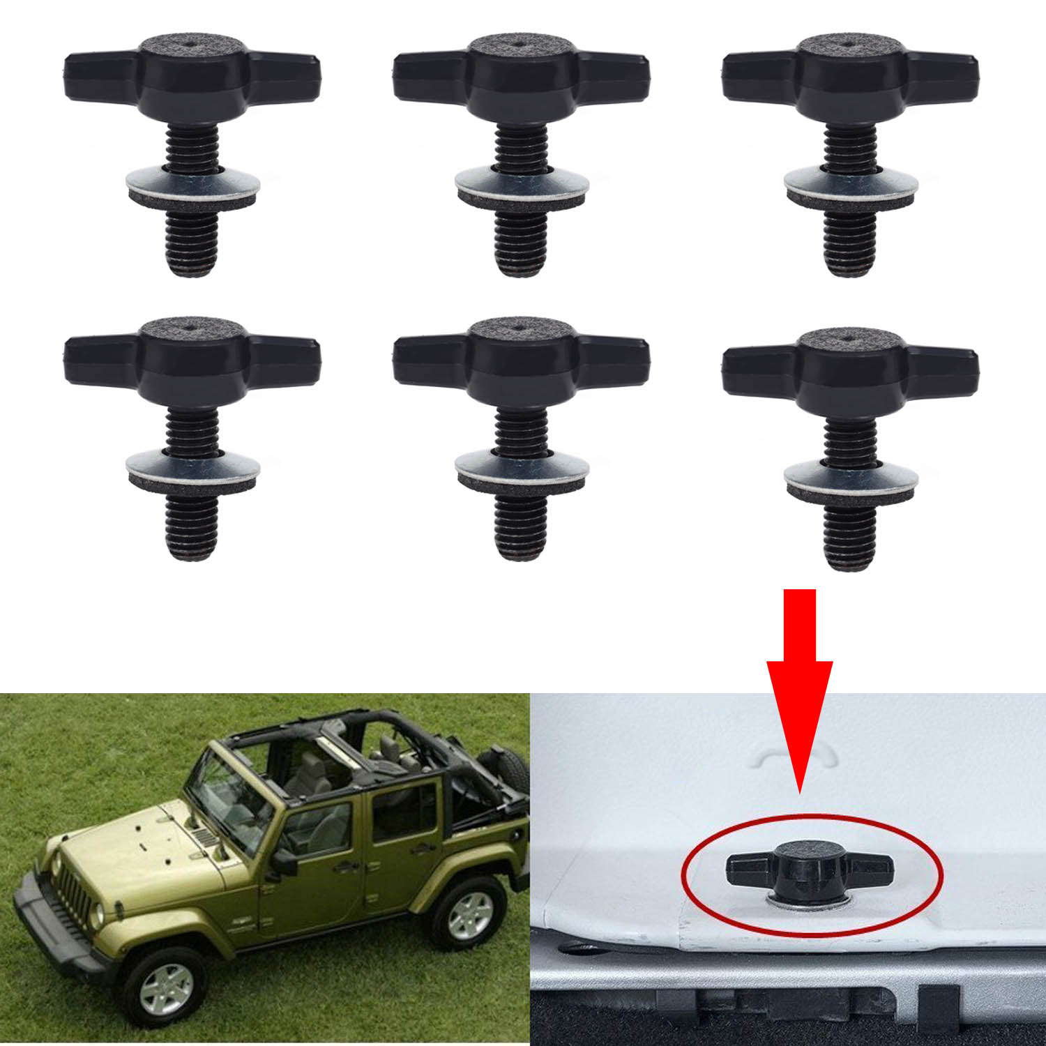 ... KAWELL Jeep Wrangler JK Hard Top Quick Removal Change Kit Set Of 6 Tee  Knobs Fastener